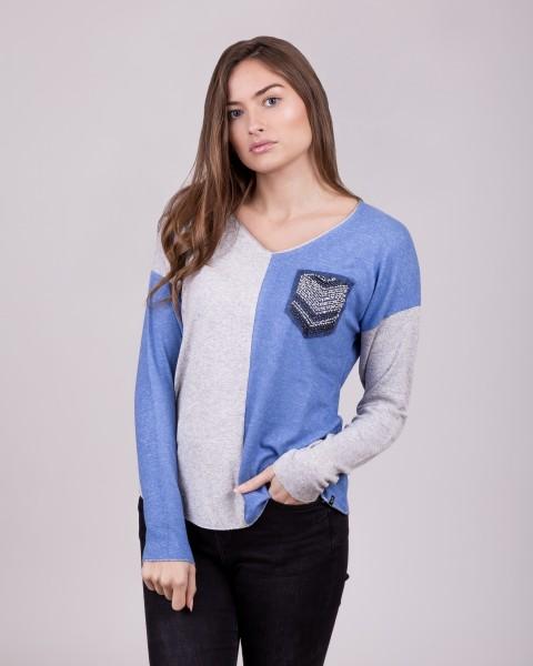 WLS CANDLE v-neck blue-grey mel