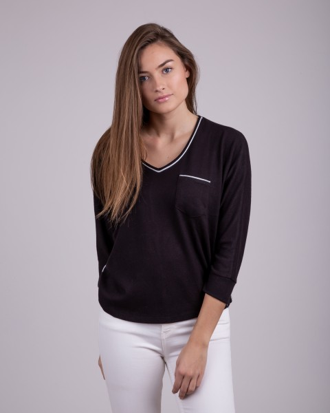 WLS HOLIDAY v-neck 3/4 black