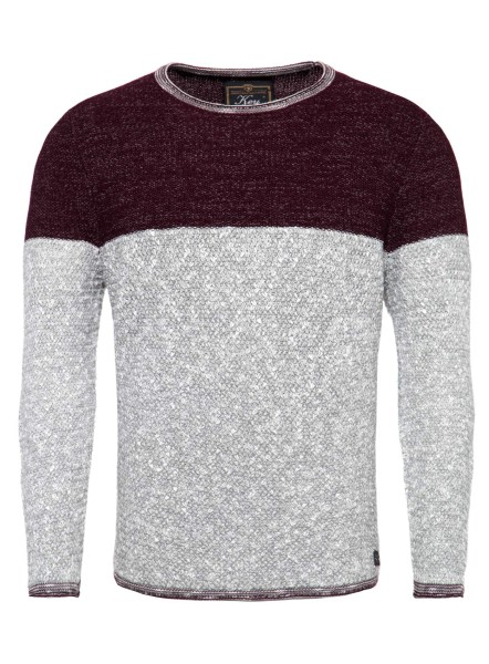 MST HAMILTON NEW round neck bordo red-silver mel.