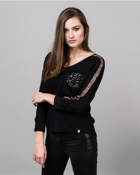 WLS CLEO v-neck 3/4 black