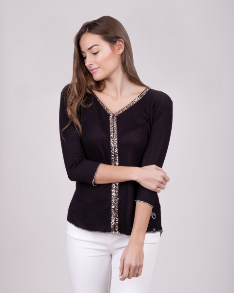 WLS SHOW v-neck 3/4 black