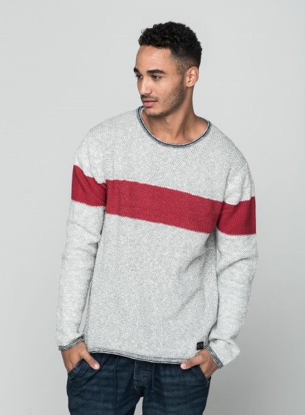 MST MANSELL round neck silver mel-cloudy red