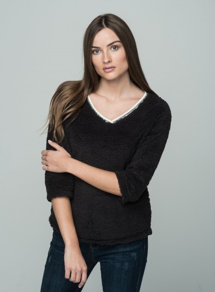 WSW FLUFFY v-neck 3/4 black