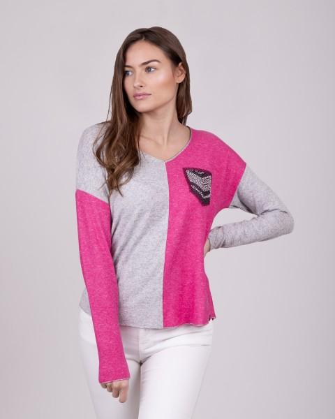 WLS CANDLE v-neck pink-grey mel