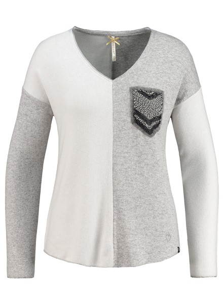 WLS CANDLE v-neck grey mel-offwhite