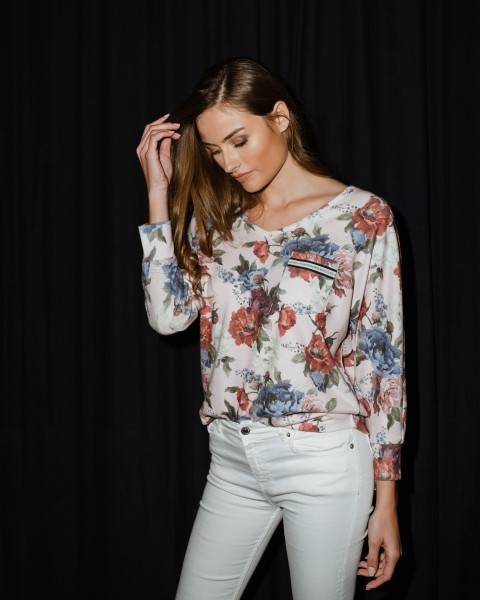 WLS BLOSSOM v-neck 3/4 light rose